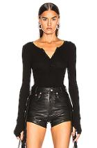 Enza Costa For Fwrd Silk Rib Henley In Black