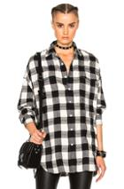 R13 X Oversized Top In Checkered & Plaid