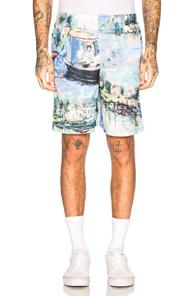 Off-white Lake Mesh Shorts In Abstract,blue,green
