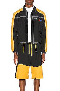 Pyer Moss Signature Coaches Jacket In Black,yellow