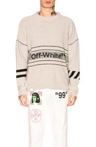 Off-white Cotton Off-white Sweater In Gray
