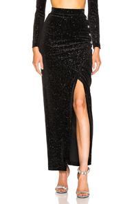 Balmain Star Speckled Midi Skirt In Black,stars