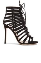 Gianvito Rossi Lace Up Suede Heels In Black