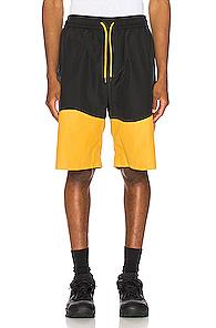 Pyer Moss Wave Panel Track Shorts In Black,yellow