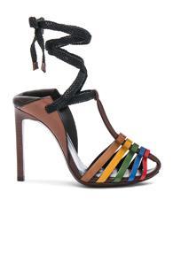 Saint Laurent Leather Majorelle Ankle Tie Sandals In Brown