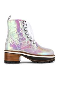 Sies Marjan Jessa Holographic Combat Boots In Pink,white
