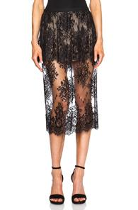 Mason By Michelle Mason Peplum Lace Skirt In Black