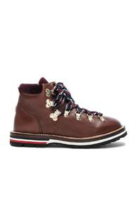 Moncler Leather Blanche Boots In Brown