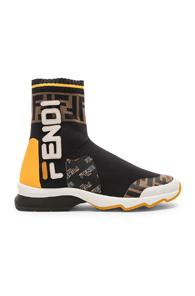 Fendi X Fila Sock Sneakers In Black