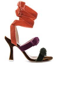 Attico Velvet Diletta Sandals In Purple,orange