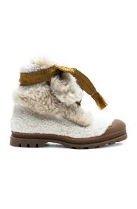 Chloe Parker Shearling Hiking Boots In White