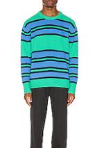 Acne Studios Nimah Stripe Face Pullover In Blue,green,stripes