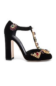 Dolce & Gabbana Jewel Embellished Velvet T Strap Heels In Black