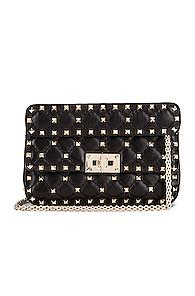 Valentino Rockstud Leather Spike Chain Shoulder Bag In Black