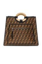 Fendi Logo Print Runaway Shopper In Brown