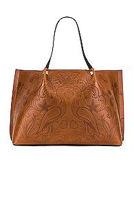Valentino Go Logo Escape Large Tote In Brown,floral,novelty