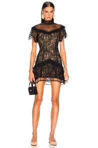 Jonathan Simkhai Mixed Lace Mockneck Mini Dress In Black,neutral