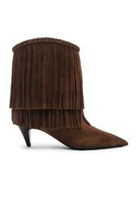 Saint Laurent Charlotte Fringe Booties In Brown