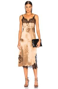 Helmut Lang Lace Slip Dress In Metallic