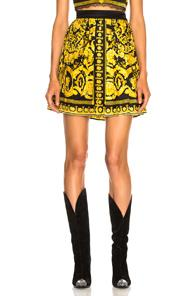 Versace Pleated Printed Mini Skirt In Abstract,black,floral,yellow