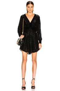 Balmain Velvet Burnout Long Sleeve Mini Dress In Animal Print,black