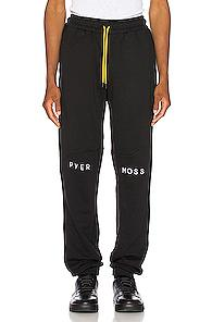 Pyer Moss Embroidered Logo Slouchy Pant In Black