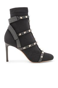 Valentino Rockstud Bodytech Caged Ankle Boots In Black
