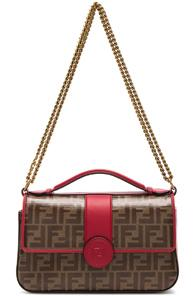 Fendi Double F Shoulder Bag In Brown,red