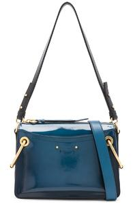 Chloe Small Roy Glossy Lambskin Shoulder Bag In Blue