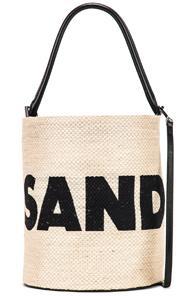 Jil Sander Logo Drawstring Bag In Black,neutral