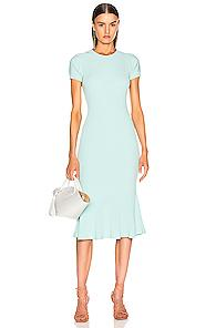 Brandon Maxwell Shortsleeve Knit Fit & Flare Dress In Blue