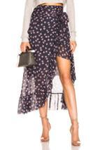 Ganni Tilden Mesh Wrap Skirt In Black,floral,pink