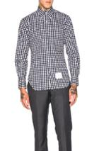 Thom Browne Dobby Check Poplin Shirt In Blue,checkered & Plaid