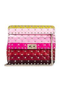 Valentino Medium Rockstud Spike Shoulder Bag In Pink,red,green,stripes,yellow