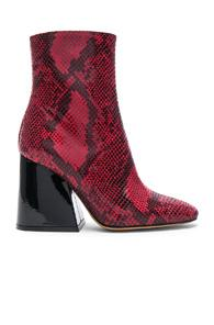 Maison Margiela Block Heel Boot In Red,animal Print