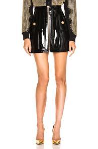 Balmain Zip Front Patent Leather Skirt In Black