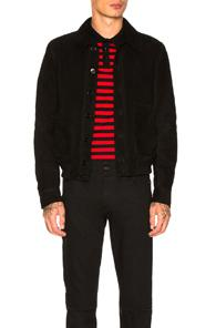 Saint Laurent Suede Blouson Jacket In Black