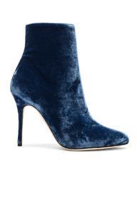 Manolo Blahnik Velvet Insopolo 105 Booties In Blue