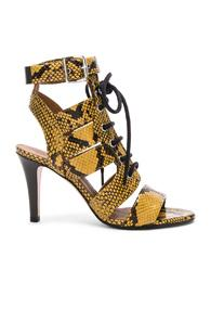 Chloe Rylee Python Print Leather Lace Up Sandals In Yellow,animal Print