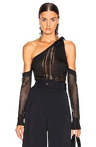 Cushnie Cold Shoulder Knit Top In Black