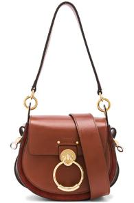 Chloe Small Tess Shiny Calfskin Shoulder Bag In Brown