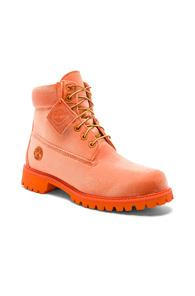 Off-white X Timberland Velvet Boots In Orange,neon