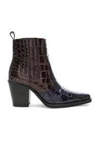 Ganni Croc Embossed Callie Boots In Brown,animal Print,blue