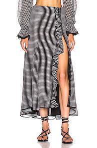 Jonathan Simkhai Gingham Ruffle Maxi Skirt In Black,plaid,white