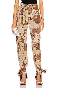 Re/done X Attico Pleated 80's High Rise Pant In Camo,neutral