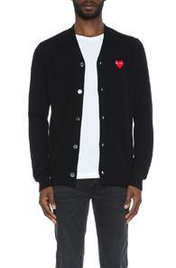 Comme Des Garcons Play Lambswool Cardigan With Red Emblem In Black