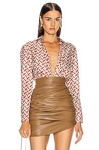 Burberry Godwit Top In Novelty,neutral,red