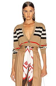 Burberry Scioto Stripe Cardigan In Neutral,stripes