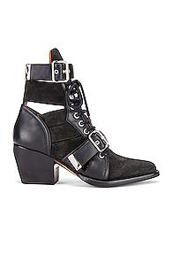 Chloe Lace Up Buckle Boots In Black