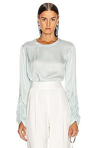 Raquel Allegra Gather Sleeve Top In Blue
